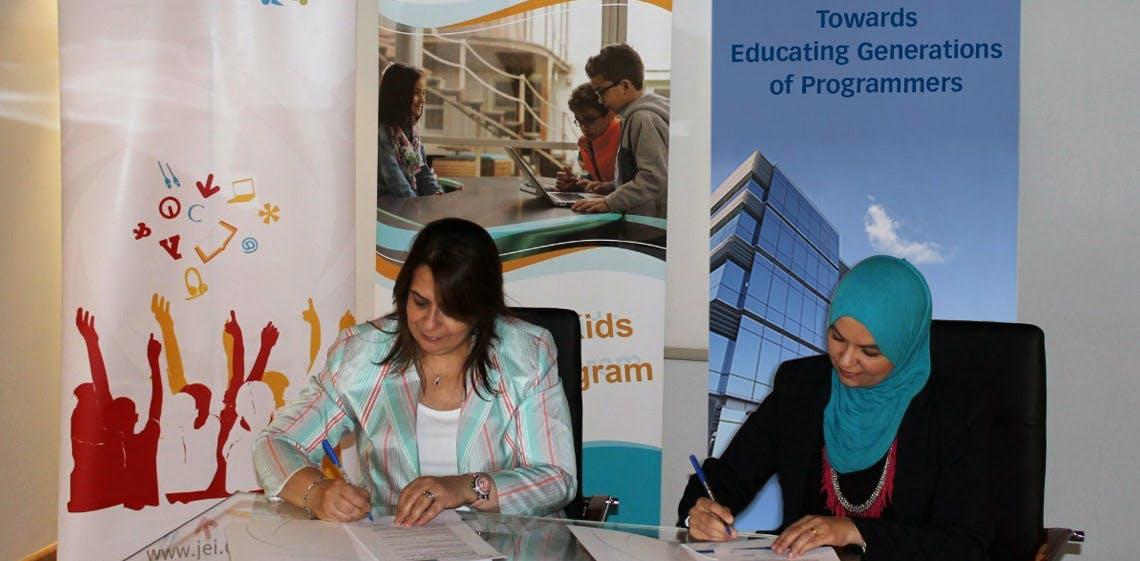ProgressSoft, patrocinador de  Niños de la Organización del Mundo, para el programa piloto en escuelas públicas